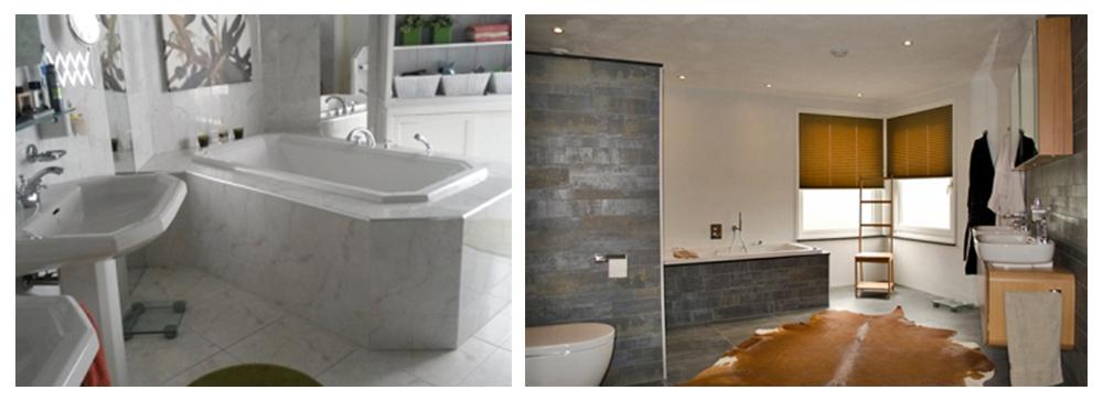voor en na badkamer met stoere uitstraling, ligbad, inloopdouche, dubbel wasmeubel, hangend toilet