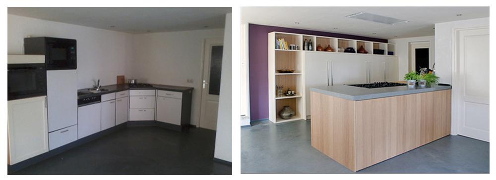Voor en na, van hoekkeuken tot ruime leefkeuken