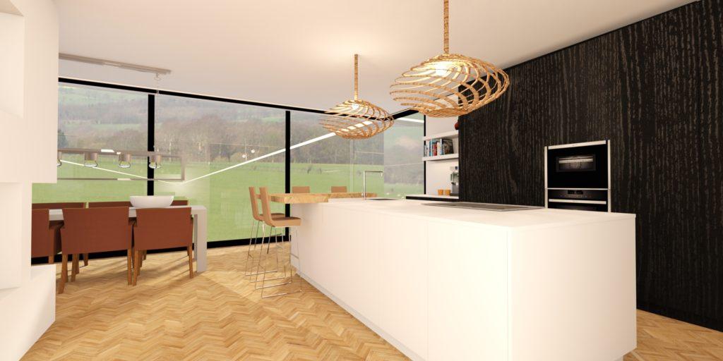 fotorealistisch ontwerp van een nog te realiseren moderne keuken