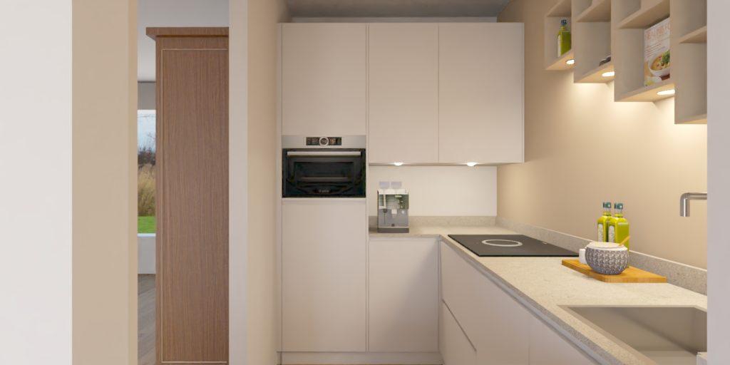 In de hoge kast zit de koelkast en combi oven