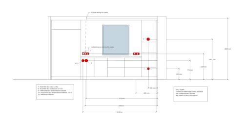 Technische tekening keuken voor aannemer